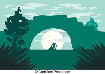 Natural landscape with gondola on river under bridge