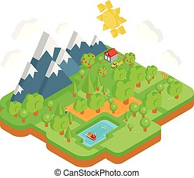 Natural Landscape with Mountains River and Forest. Vector...
