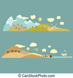Landscapes from mountains to plains and from desert to sea Vector illustration