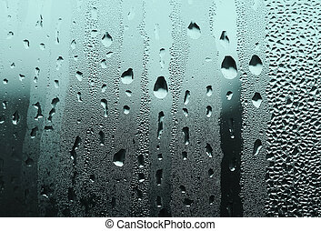 water drops on glass - natural large and fine water drops on...