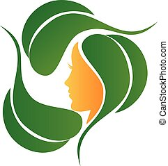 Natural leafs and fashion care logo