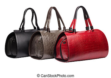 Natural leather female purses - Set of three natural leather...