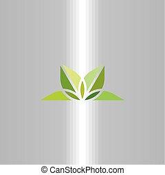 natural leaves logo yoga green symbol vector