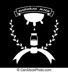 natural, leite, vindima, logotipo, -, vetorial, ilustração
