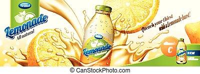 Natural lemonade juice with splashing liquid and sliced ...