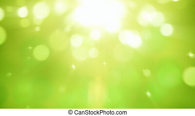 Natural light particles green motion background seamless loop