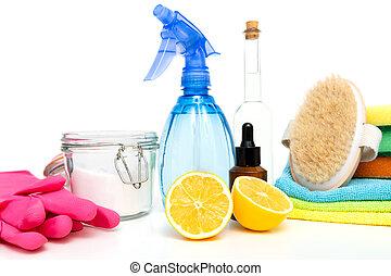 natural, limpadores, products., verde, eco-amigável, caseiro, limpeza