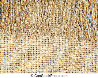 Natural linen texture with fringe.Abstract background.