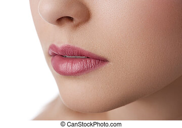 natural lips close up