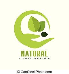 Natural logo design, eco premium quality label, emblem for cafe, packaging, restaurant, farm products vector Illustration on a white background