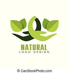 Natural logo design, healthy organic food label, emblem for cafe, packaging, restaurant, farm vector Illustration on a white background