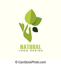 Natural logo design, healthy premium quality label with green leaves and human hand, emblem for cafe, packaging, restaurant, farm products vector Illustration on a white background