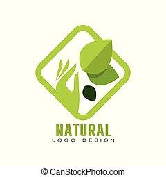 Natural logo design, organic food label, emblem for cafe, packaging, restaurant, farm products vector Illustration on a white background