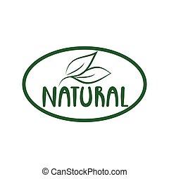 Natural logo green leaf label  for veggie or vegetarian food package design.