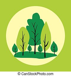 Natural logo or label with green trees in circle