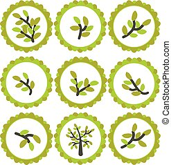 Natural logo or label with olive in circle