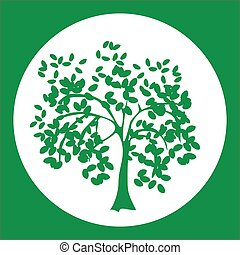 Natural logo or label with tree olive in circle