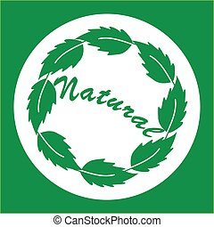 Natural logo with green leaves in circle