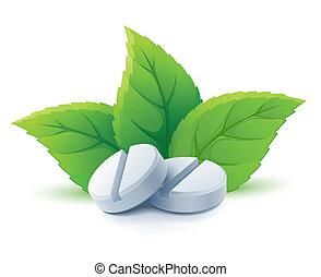 natural, médico, píldoras, con, hojas verdes