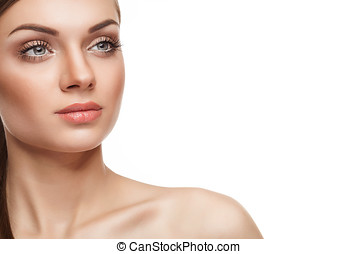 Natural make up. Young woman with light natural make up on...