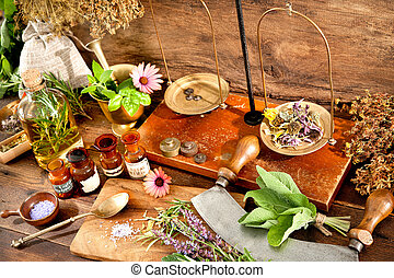 Natural medicine - Ancient natural medicine, herbal, vials ...