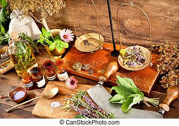 Natural medicine - Ancient natural medicine, herbal, vials ...
