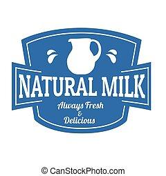 Natural milk label or stamp