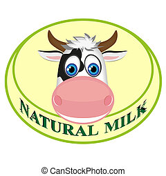Natural milk sticker with cow