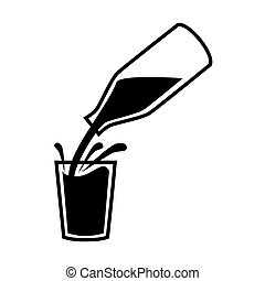 Natural milk symbol or logo. Milk pouring from a bottle with splashes in glass