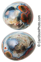 two Ocean (Orbicular) jasper gemstones isolated - natural...