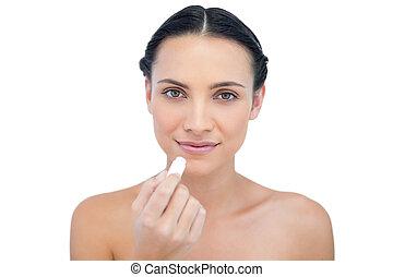 natural, modelo, utilizar, bálsamo de labio