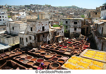 Famous colorful tanneries, Fess, Morocco