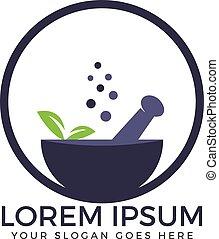 Natural mortar and pestle logo.