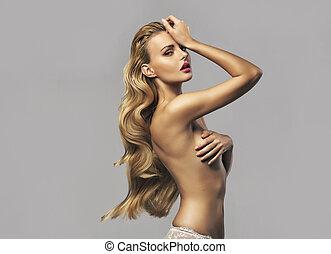 natural, mulher bonita, com, ouro, cabelo