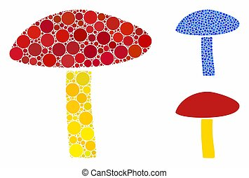 Natural Mushroom Composition Icon of Spheric Items - Natural...