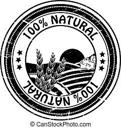 natural, natureza, selo, borracha, vetorial, puro