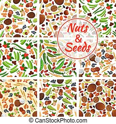 Natural nuts and seeds seamless backgrounds
