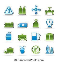natural, objetos, gás, ícones