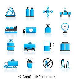 natural, objetos, gas, iconos
