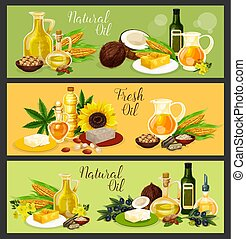 Natural oil with ingredient banner for food design - Natural...