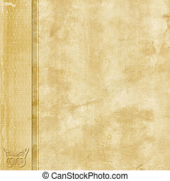 Natural old paper with left side border and butterfly