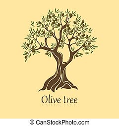 Natural olive tree with branches for bottle sticker. Organic vegetable drink label. Olea oil ingredient logo. Perfect for trade and shop, mediterranean theme