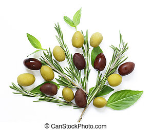 Natural olives with herbs and spices