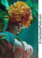 natural orchid headgear - Fashionable female model posing ...