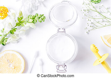 natural organic cosmetics for baby on white background top view