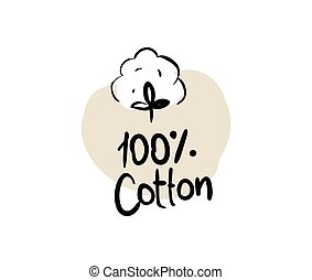 Natural organic cotton vector label.
