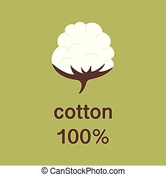 Natural organic cotton vector label, sticker, logo. Isolated icon on green background. Cotton labels or logo for pure 100 percent natural cotton textile tag icon vector