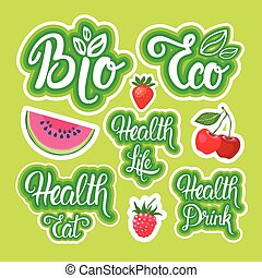 Natural organic food brands stickers set  Healthy food from
