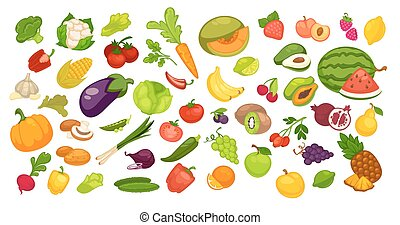 Natural organic fruit and vegetables set on white