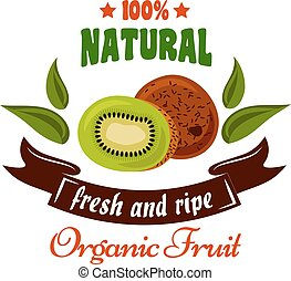 Natural organic fruits symbol with fresh kiwi